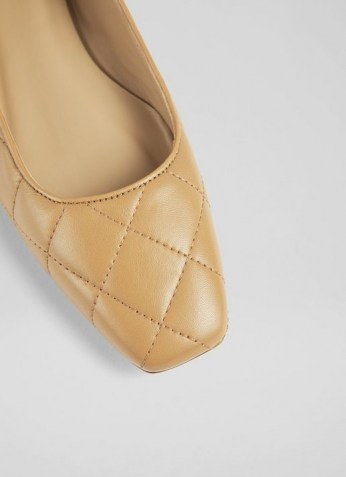 L.K. BENNETT CAROLINA CAMEL NAPPA LEATHER FLATS / luxe light brown quilted ballerinas / square toe ballerina flat shoes