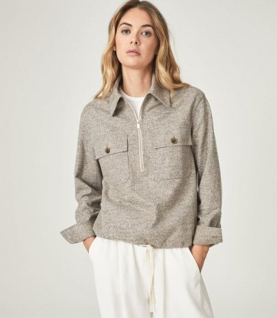 REISS CARSTONE TEXTURED ZIP NECK OVERSHIRT GREY / womens blouson style over-shirts / casual pullover tops - flipped