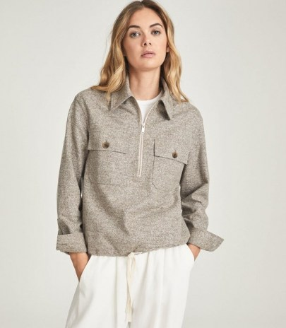 REISS CARSTONE TEXTURED ZIP NECK OVERSHIRT GREY / womens blouson style over-shirts / casual pullover tops