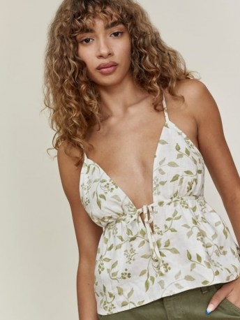 REFORMATION Cava Linen Top / skinny strap plunge tie front babydoll tops - flipped