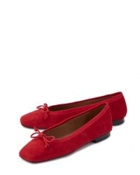 Jigsaw CHISWICK SUEDE BALLERINAS in Red | bow front ballerina flats