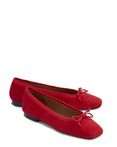 Jigsaw CHISWICK SUEDE BALLERINAS in Red | bow front ballerina flats - flipped