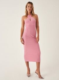 REFORMATION Cita Dress in Ladies Room ~ pink knit halterneck dresses ~ halter fashion
