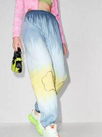 Collina Strada tie-dye rhinestone track pants blue / yellow ~ womens embellished cuff hem joggers ~ women's cuffed jogging bottoms