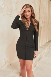 Lavish Alice corset tux mini dress in black | LBD