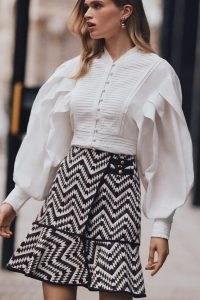 KAREN MILLEN Cotton Poplin Volume Sleeve Woven Blouse | voluminous romantic style blouses