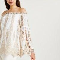 RIVER ISLAND Cream lace bardot top – semi sheer off the shoulder tops – feminine fashion