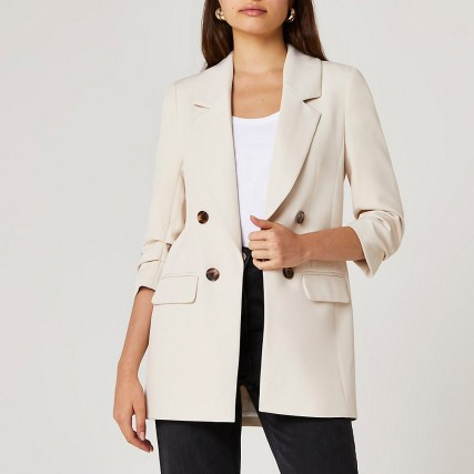RIVER ISLAND Cream longline blazer ~ womens neutral 3/4 sleeve blazers ~ women's on trend jackets - flipped