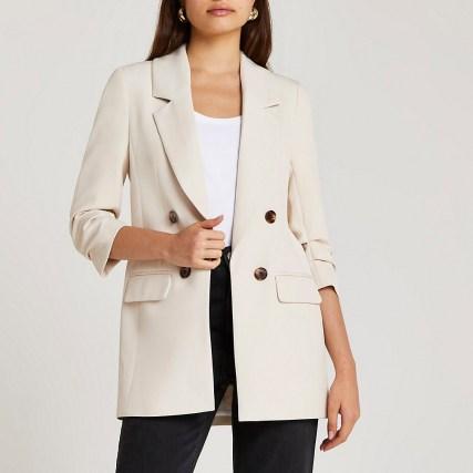 RIVER ISLAND Cream longline blazer ~ womens neutral 3/4 sleeve blazers ~ women's on trend jackets