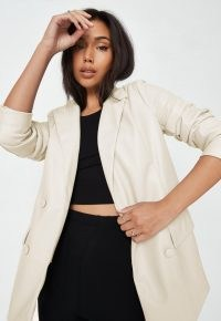 MISSGUIDED cream soft faux leather oversized blazer ~ womens on trend jackets ~ women's fashionable luxe style blazers