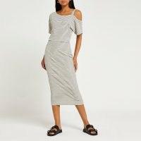 RIVER ISLAND Cream stripe one shoulder midi dress – summer day dresses – casual fashion