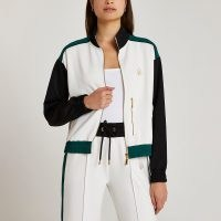 RIVER ISLAND Cream stripe zip up jacket ~ sporty look jackets