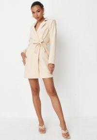 MISSGUIDED cream wrap blazer dress ~ evening glamour ~ glamorous tie waist jacket dresses ~ womens going out fashion