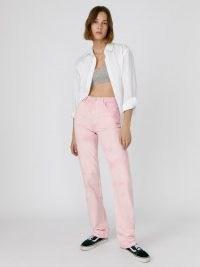 Reformation Cynthia Spiral High Rise Straight Long Jeans Dahlia Spiral | womens pink denim fashion