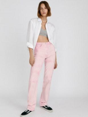 Reformation Cynthia Spiral High Rise Straight Long Jeans Dahlia Spiral   womens pink denim fashion - flipped