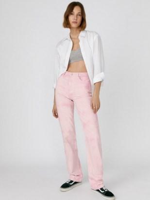 Reformation Cynthia Spiral High Rise Straight Long Jeans Dahlia Spiral   womens pink denim fashion