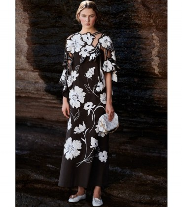 TORY BURCH DAISY APPLIQUE FLORAL DRESS DEEP CHOCOLATE / luxe brown embellished cut out detail occasion dresses / feminine event wear - flipped