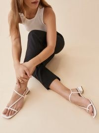 REFORMATION Dani Asymmetrical Block Heel Sandal in White Leather / strappy square toe sandals / womens chic summer shoes