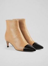 L.K. BENNETT DIANA CAMEL NAPPA LEATHER ANKLE BOOTS ~ light brown luxe booties