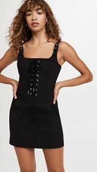 Dion Lee Contour Stitch Mini Dress | black sleeveless front lace up dresses | LBD | corset style fitted bodice fashion