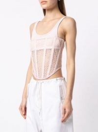 Dion Lee Suspended utility corset top in blush pink ~ cropped fitted bodice tops