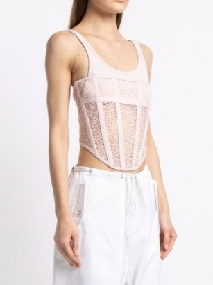 Dion Lee Suspended utility corset top in blush pink ~ cropped fitted bodice tops - flipped