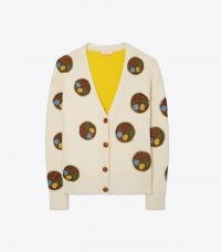 TORY BURCH DOUBLE-FACED FLORAL DOT CARDIGAN / womens crochet detail front button up cardigans / women's luxe designer knitwear