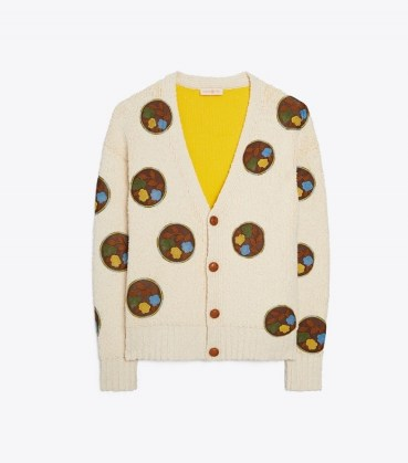 TORY BURCH DOUBLE-FACED FLORAL DOT CARDIGAN / womens crochet detail front button up cardigans / women's luxe designer knitwear - flipped