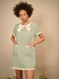 sister jane THE IVY TRAIL Thistle Tweed T-shirt Dress Sage Green ~ short sleeve textured shift dresses