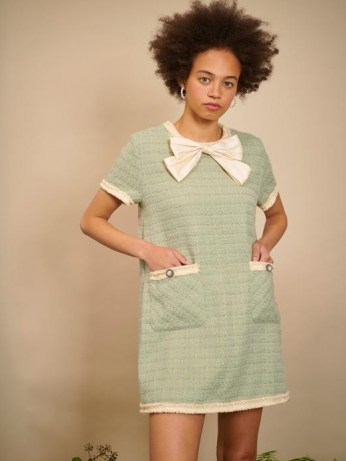 sister jane THE IVY TRAIL Thistle Tweed T-shirt Dress Sage Green ~ short sleeve textured shift dresses - flipped