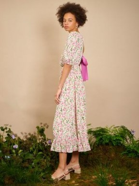 sister jane THE IVY TRAIL Forest Fauna Midi Dress Pink, Cream Green ~ floral open back bow detail dresses ~ ruffle tiered hem - flipped