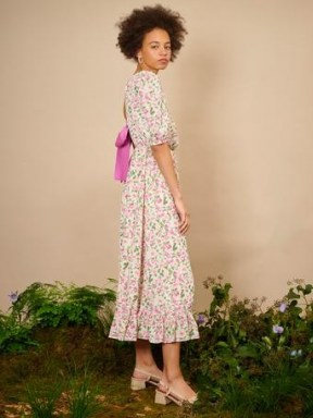 sister jane THE IVY TRAIL Forest Fauna Midi Dress Pink, Cream Green ~ floral open back bow detail dresses ~ ruffle tiered hem