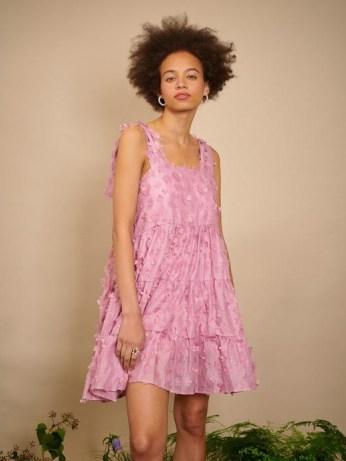 sister jane THE IVY TRAIL Ramble Blossom Mini Dress Aurora Pink ~ floral applique dresses - flipped