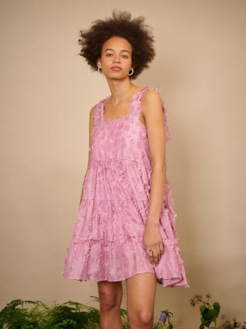 sister jane THE IVY TRAIL Ramble Blossom Mini Dress Aurora Pink ~ floral applique dresses