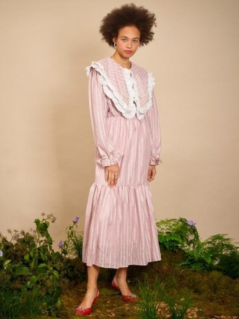 sister jane THE IVY TRAIL Garden Pearl Midi Dress Pressed Rose ~ pink oversized collar dresses ~ womens vintage style fashion - flipped