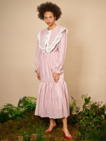 sister jane THE IVY TRAIL Garden Pearl Midi Dress Pressed Rose ~ pink oversized collar dresses ~ womens vintage style fashion