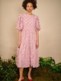 sister jane Oak Leaf Midi dress in Pressed Rose ~ romantic pink 3D floral applique dresses ~ romantic look fashion
