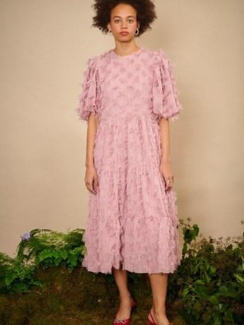 sister jane Oak Leaf Midi dress in Pressed Rose ~ romantic pink 3D floral applique dresses ~ romantic look fashion - flipped