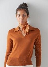 L.K. BENNETT ELENA CAMEL SILK SCARF ~ womens chic light brown scarves