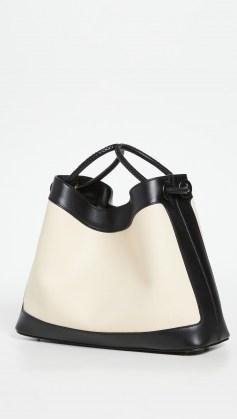 Elleme Vosges Canvas Bag Black/White | monochrome shoulder bags | colour block handbags - flipped