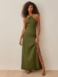REFORMATION Elmer Linen Dress in Fern ~ green halterneck maxi dresses ~ womens halter occasion fashion ~ women's summer party wear