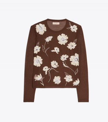 TORY BURCH EMBELLISHED CREWNECK Dark Umber / sheer floral sequin crew neck tops / sequinned fashion - flipped