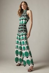 KAREN MILLEN Embellished Geo Jacquard Halterneck Jumpsuit Green | women's glamorous retro knitted fashion | womens 70s vintage style halter jumpsuits