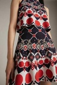KAREN MILLEN Embellished Geo Jacquard Knitted Skirt | geometric patterned skirts