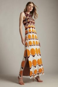 KAREN MILLEN Embellished Geo Jacquard Midi Dress Orange | sleeveless knitted retro print dresses | women's 70s style fashion