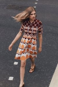 KAREN MILLEN Embellished Geo Jacquard Swing Dress Orange | womens 70s style dresses | women's retro print fashion