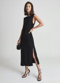 REISS ERIKA SHIFT SILHOUETTE MIDI DRESS BLACK ~ sleeveless LBD ~ womens chic occasion dresses ~ women's event wear