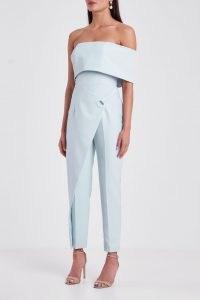 LAVISH ALICE eyelet detail wrap tapered jumpsuit in baby blue – folded detail off the shoulder jumpsuits