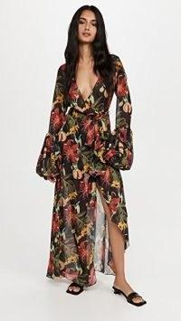 Fe Noel Isle of Spice Wrap Dress | semi sheer floral plunge front maxi dresses | boho fashion | bohemian clothing