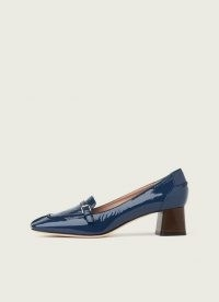 L.K. BENNETT FELICITY BLUE CRINKLE PATENT LEATHER HEELED LOAFERS ~ womens high shine block heel square toe loafer ~ women's preppy style shoes